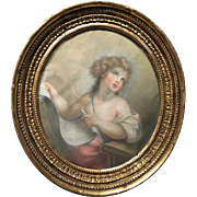 18th Century French Pastel Oval Portrait of a Girl in Original Giltwood Frame