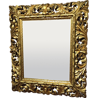19th c Italian Pierce Carved Giltwood Wall Mirror