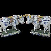Pair of 18th / 19th c Polychrome Dutch Delft Porcelain Cows