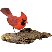 Steven E. Brosque Wooden Hand Carved & Painted Bird - Red Cardinal