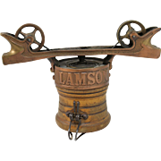 19th / 20th c Lamson Brass & Wooden Rapid Wire Cash Carrier