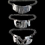 Set of 3 Sterling Silver Liquor Decanter or Bottle Hanging Labels