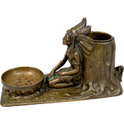 """Early 20th c Tiffany Studios Bronze """"Indian"""" or Native American Smokers Companion"""