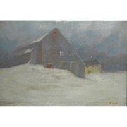 Gilbert Riswold Oil Painting Winter Landscape - The Snow Fall