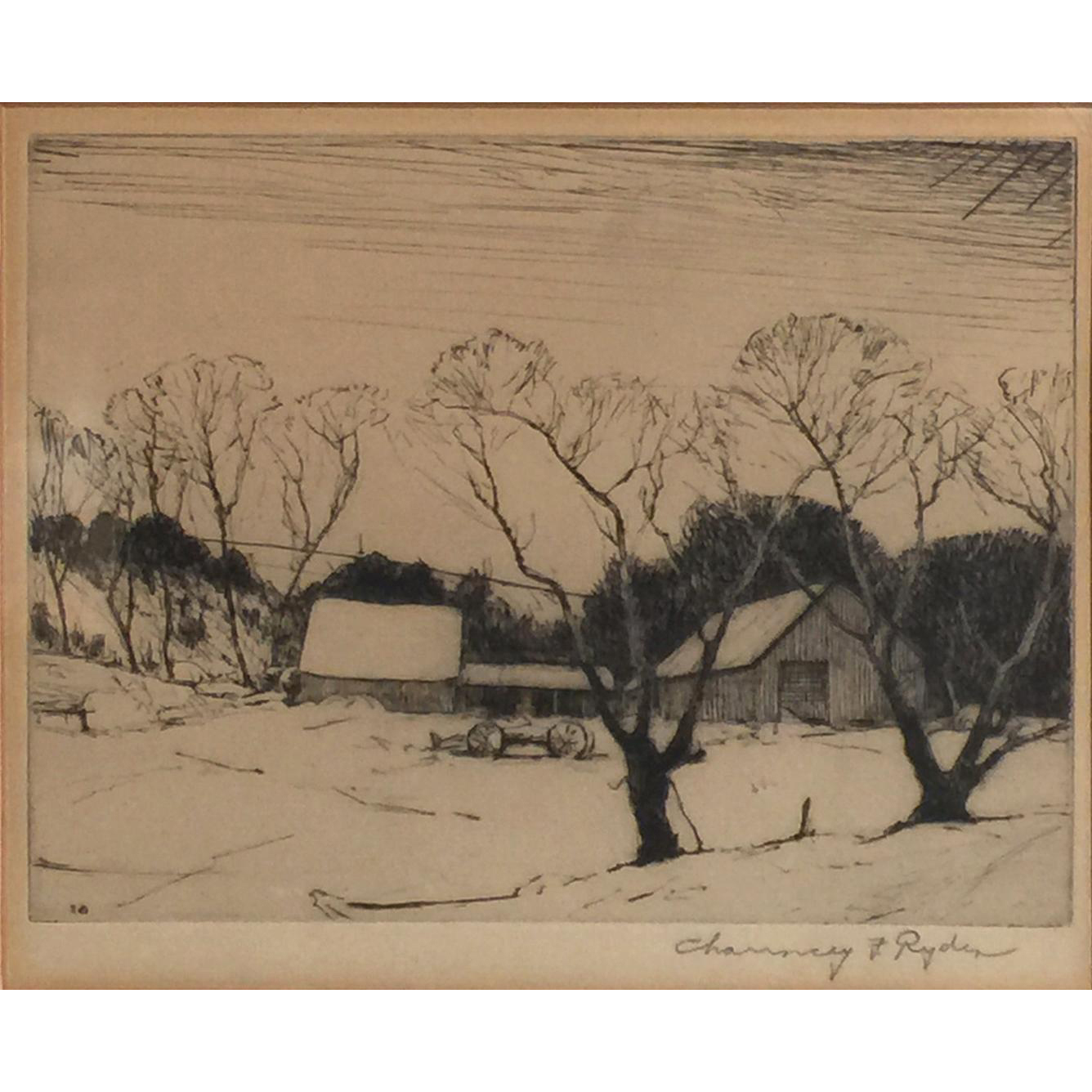 Chauncey Foster Ryder Drypoint Etching  of Winter Landscape