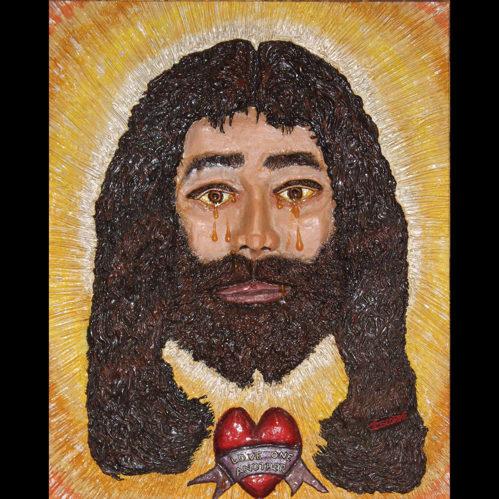 Jamieson Cisco Pike Religious Relief Painting of Jesus Christ - Messiah Says