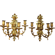 Pair of French Style Ormolu Four Light Wall Sconces