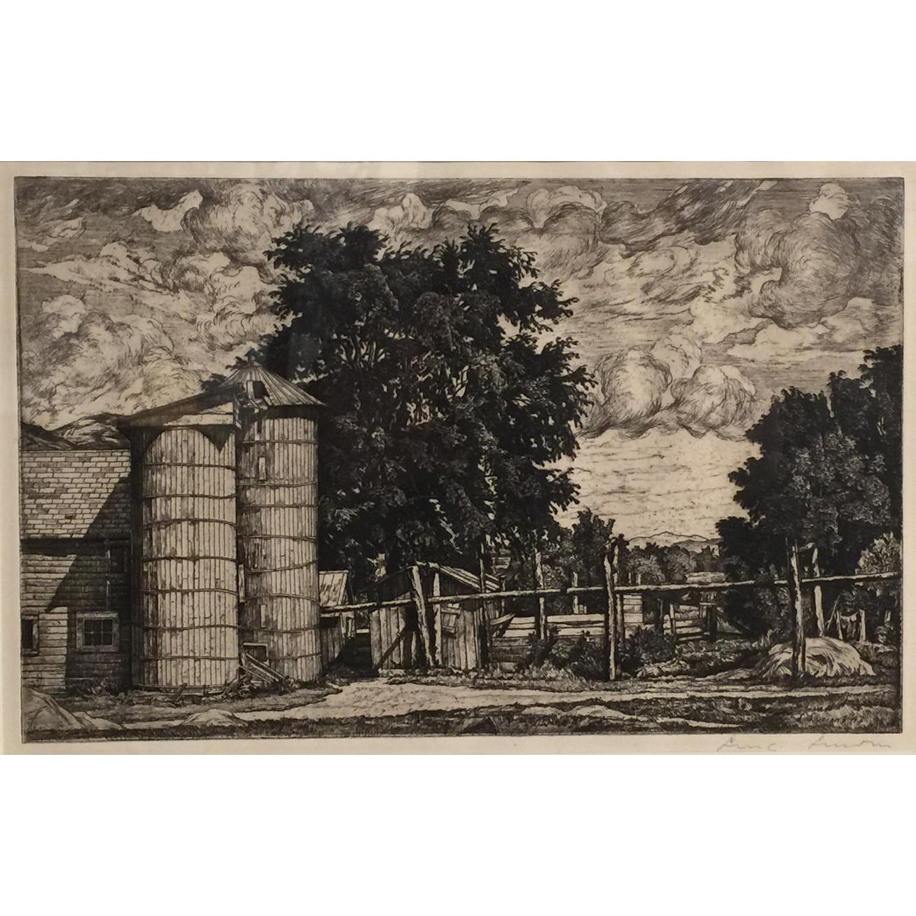 Luigi Lucioni Vermont Landscape Etching - Two Silos 1942