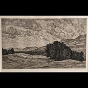 Luigi Lucioni Vermont Landscape Etching - Vermont Splendor 1942