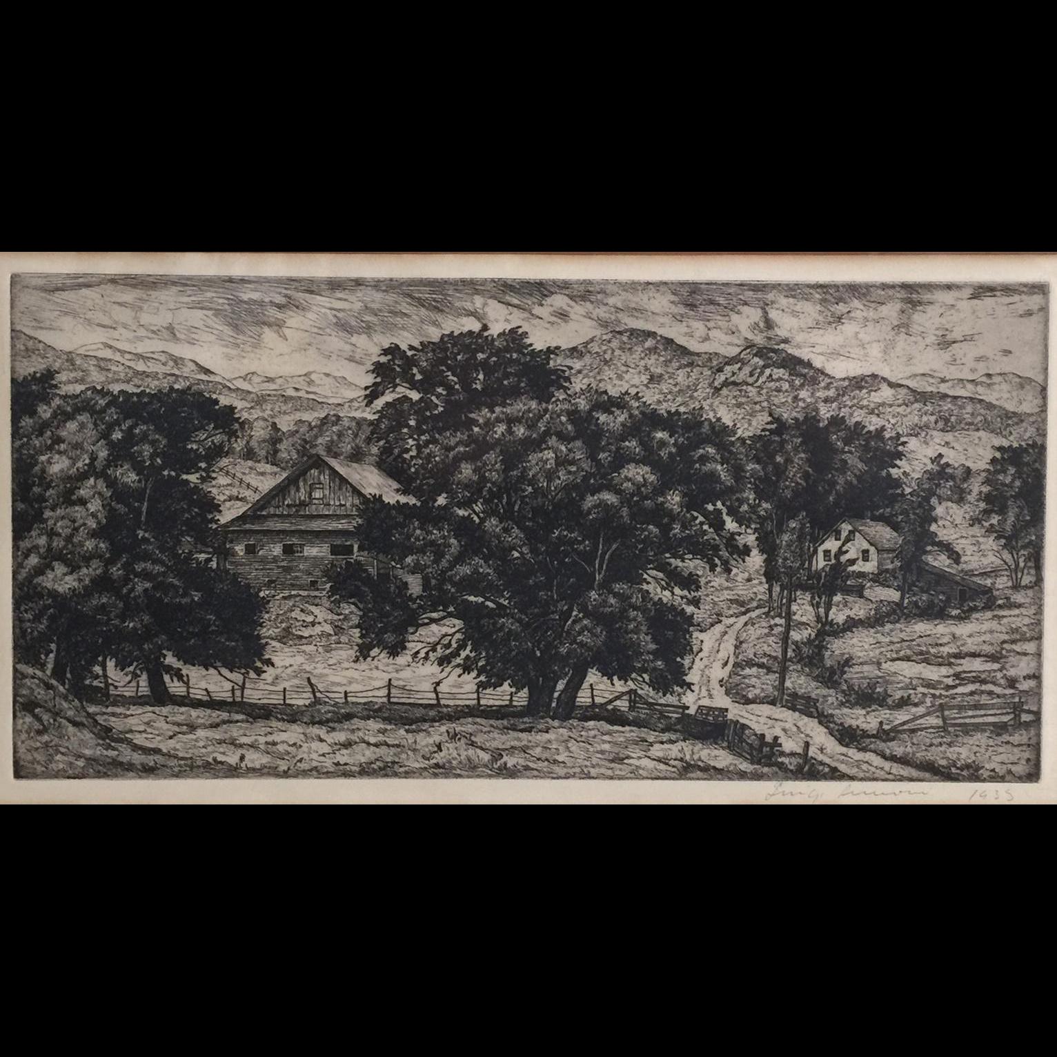 Luigi Lucioni Vermont Landscape Etching with Barn 1935