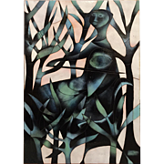 Joseph Trippetti Cloisonne Enamel Abstract of a  Woman in the Forest