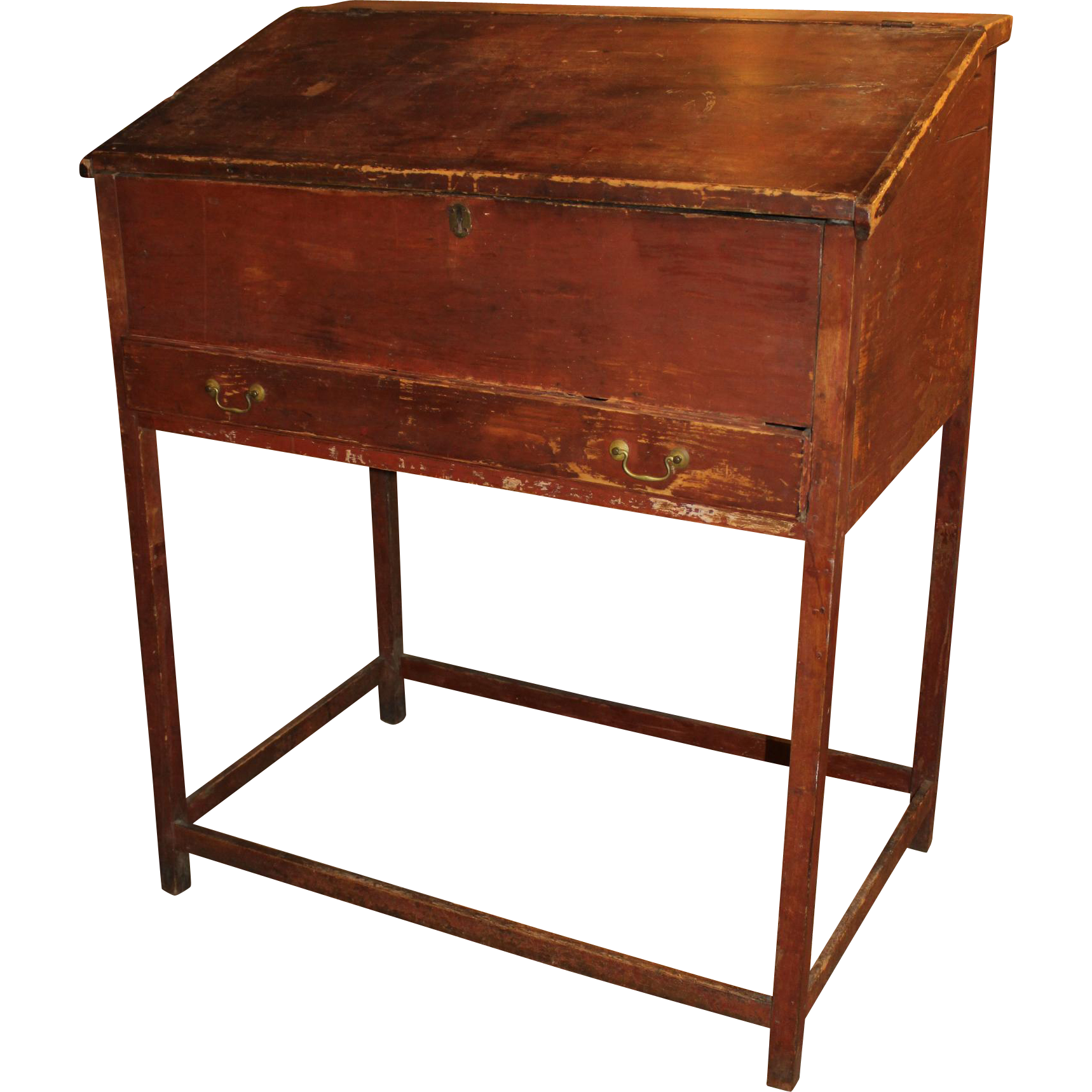 18th Century Schoolmaster's Desk in Old Red Paint