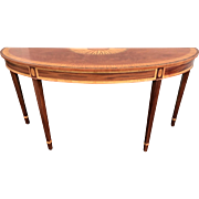 Mahogany Banded Demi-Lune Console with Radiating Fan Inlay
