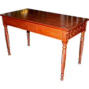 Antique Walnut Writing Table with Bone Inlay and Rope Turned Legs