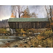 William R. Davis Oil Painting - Lincoln Covered Bridge, Ottauquechee River, West Woodstock VT