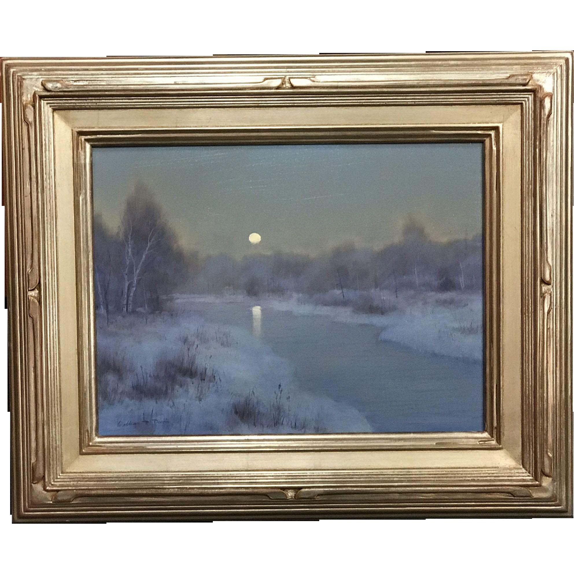 William R. Davis Tonalist Winter Landscape Oil Painting - Frosty Morning