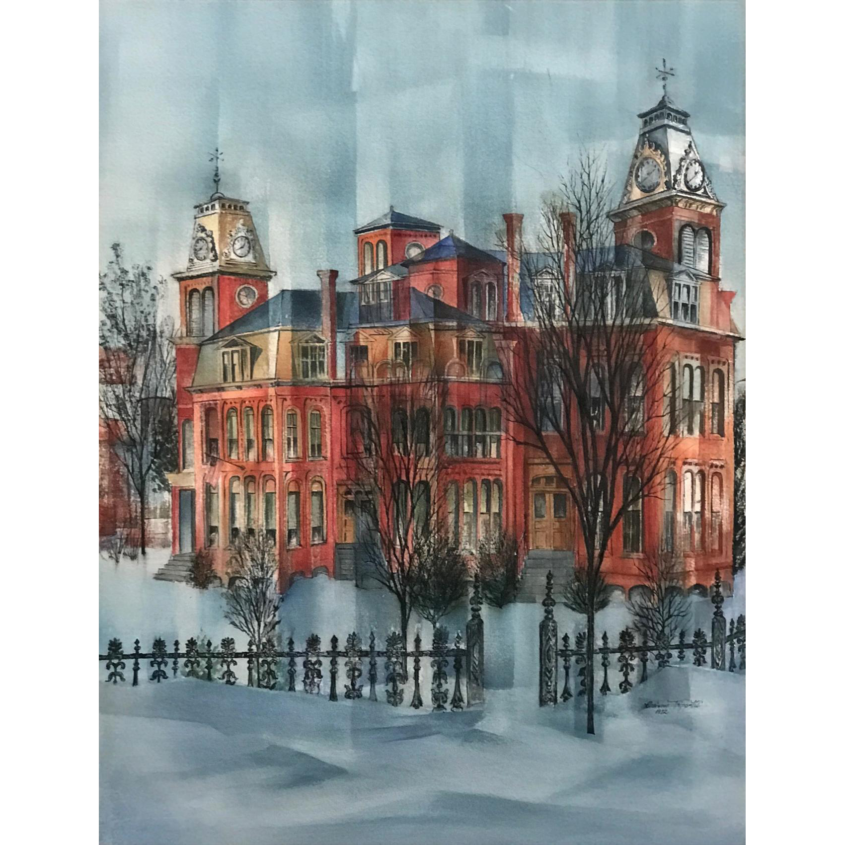 Corinne Trippetti Watercolor Painting - Ash Street School, Manchester NH 1972
