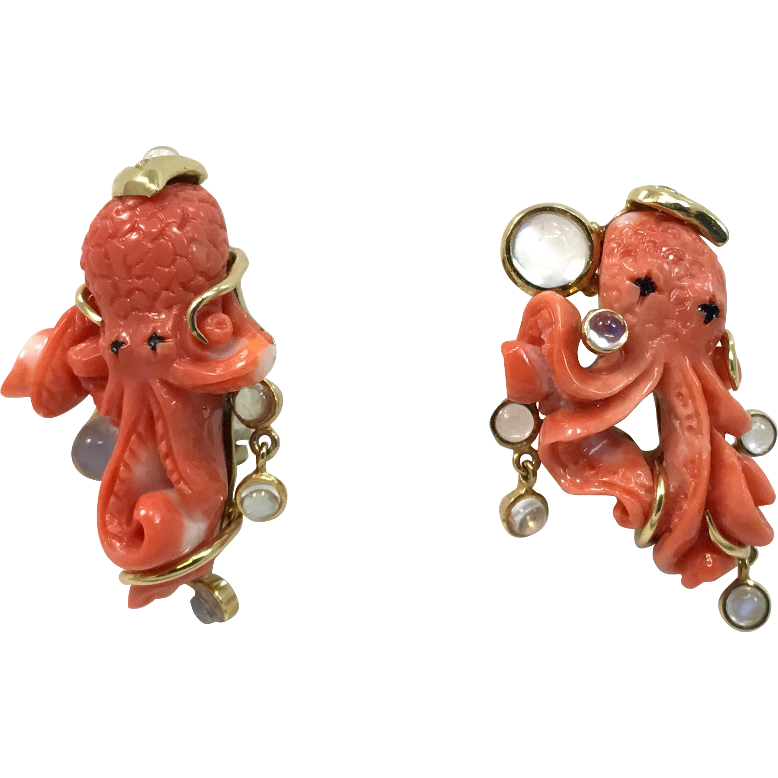 Pair of 18-Karat Marilyn Cooperman Coral Octopus Earrings