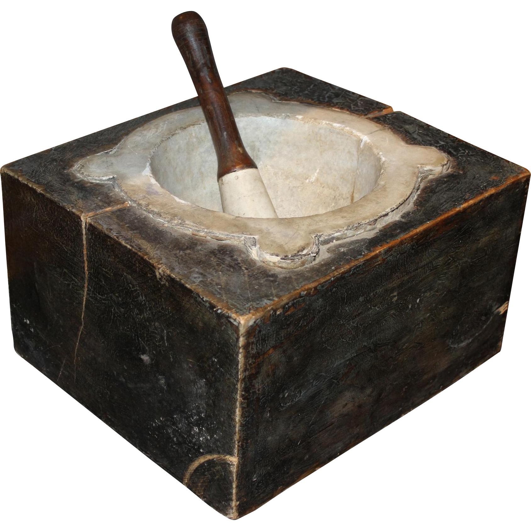 19th c Large Stone & Wood Mortar & Pestle