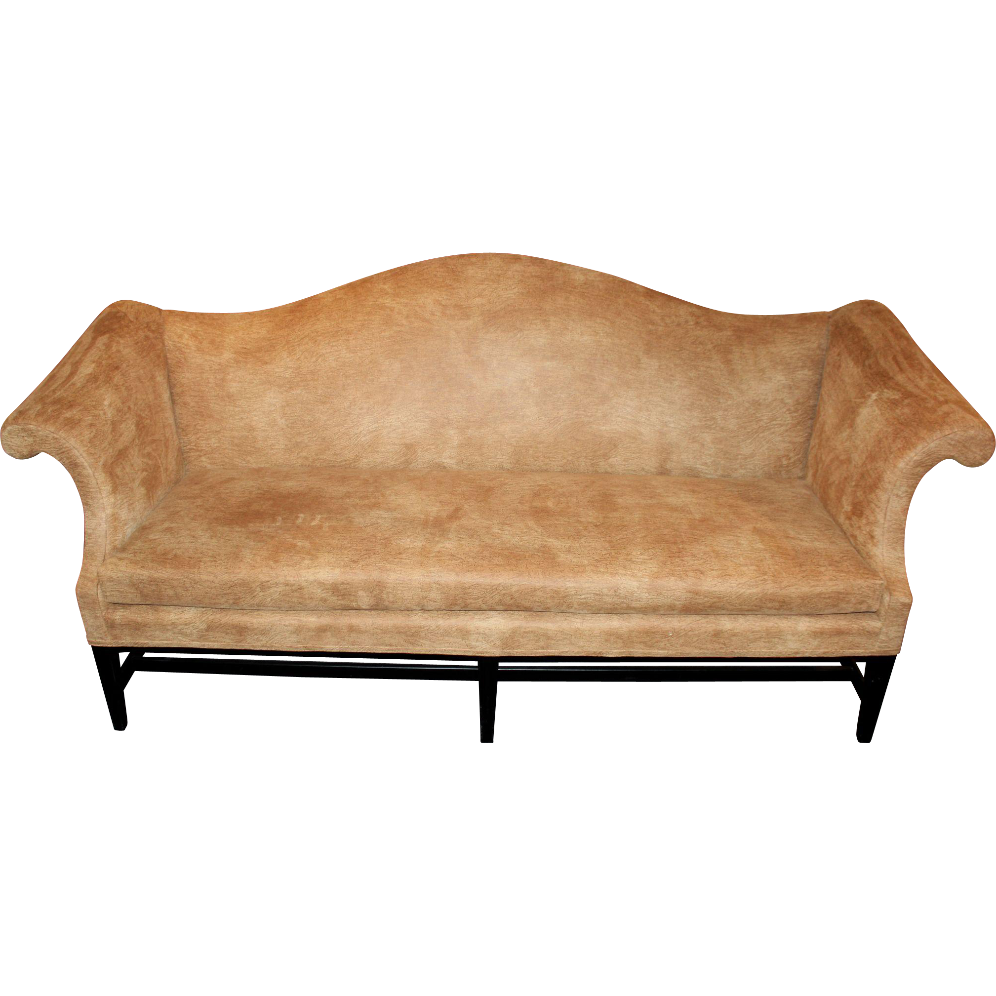 Chippendale Style Mahogany Camelback Sofa in Faux Cork Upholstery