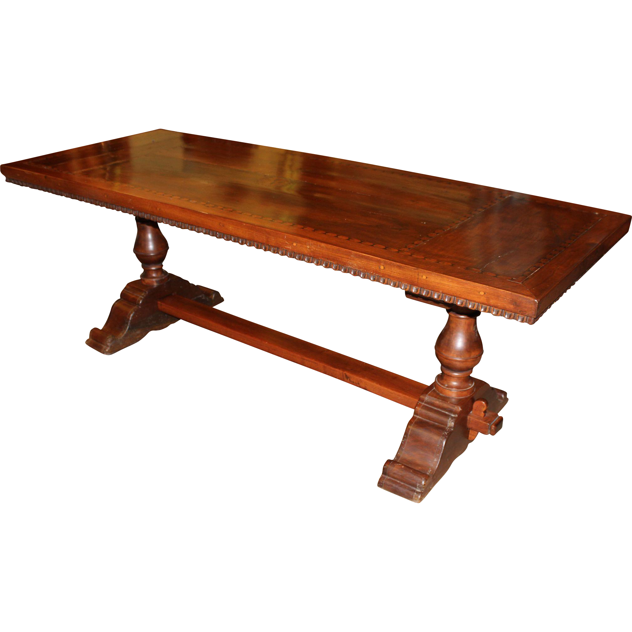 19th Century Continental Walnut Refectory or Trestle Table with Geometric Inlay
