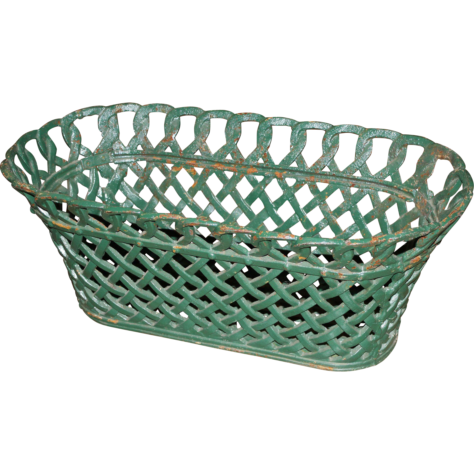 Cast Iron Green Painted Basket Weave Planter