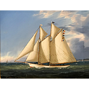William R. Davis Marine Oil Painting - Schooner Yacht Harbinger 1890's