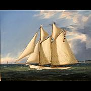 William R. Davis Marine Oil Painting - Schooner Yacht Harbinger 1890's