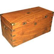 China Trade Camphor Wood Trunk or Campaign Chest circa 1800