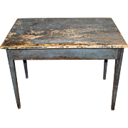 Early 19th c American Pine Work Table in Old Blue Paint