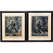 Pair of 1858 Currier & Ives Lithographs - The American Fireman - Facing The Enemy / Always Ready
