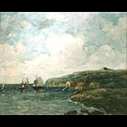 Paul Bernard King Coastal Marine Oil Painting - Harbor Scene