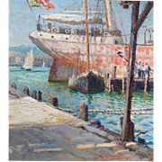 George Loftus Noyes Marine Oil Painting - Boats at Dock