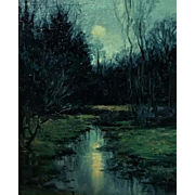 Dennis Sheehan Tonalist Oil Painting Landscape - Twilight Marsh Scene