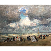 Augustus B. Koopman Coastal Impressionist Oil Painting - A Day At The Beach 1914