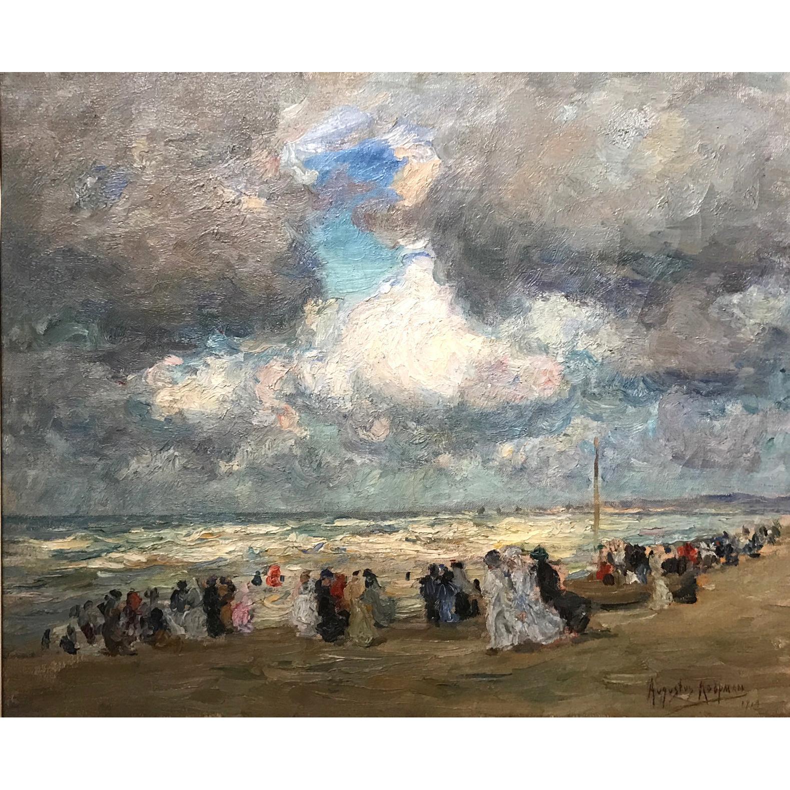Augustus B. Koopman Coastal Impressionist Oil Painting - A Day At The Beach 1914