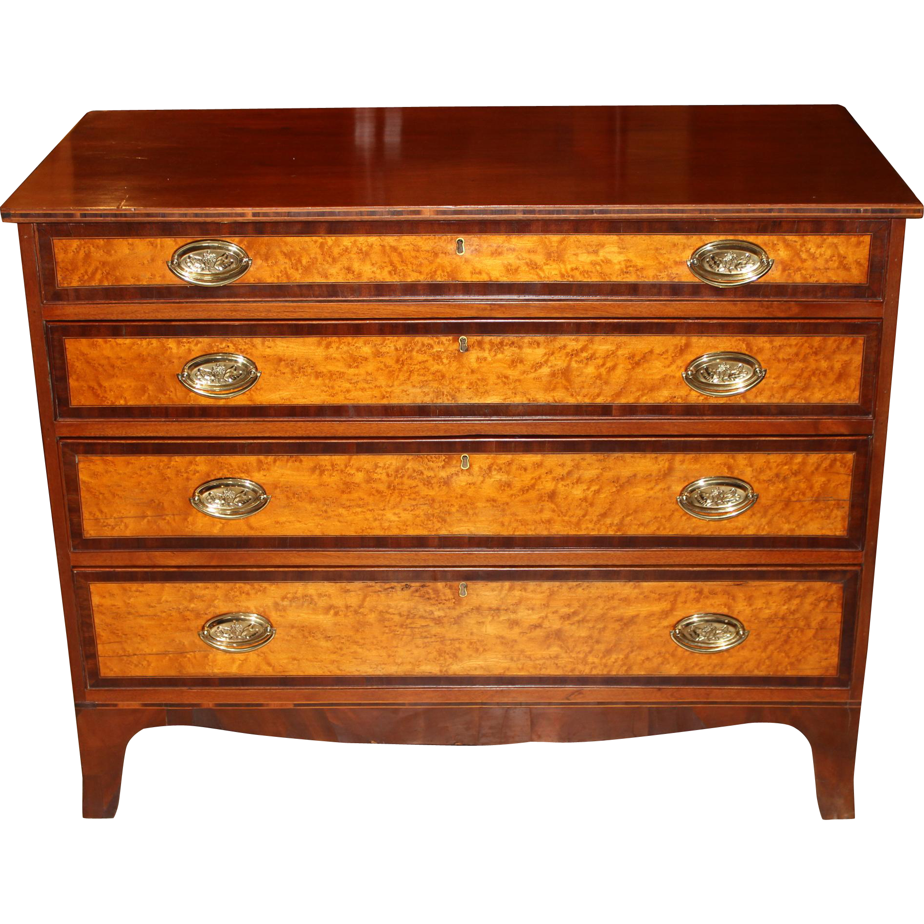 Federal Period Hepplewhite Chest of Drawers with Birdseye Maple Drawer Fronts
