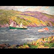 Charles Henry Ebert Marine Oil Painting - Monhegan Island Maine
