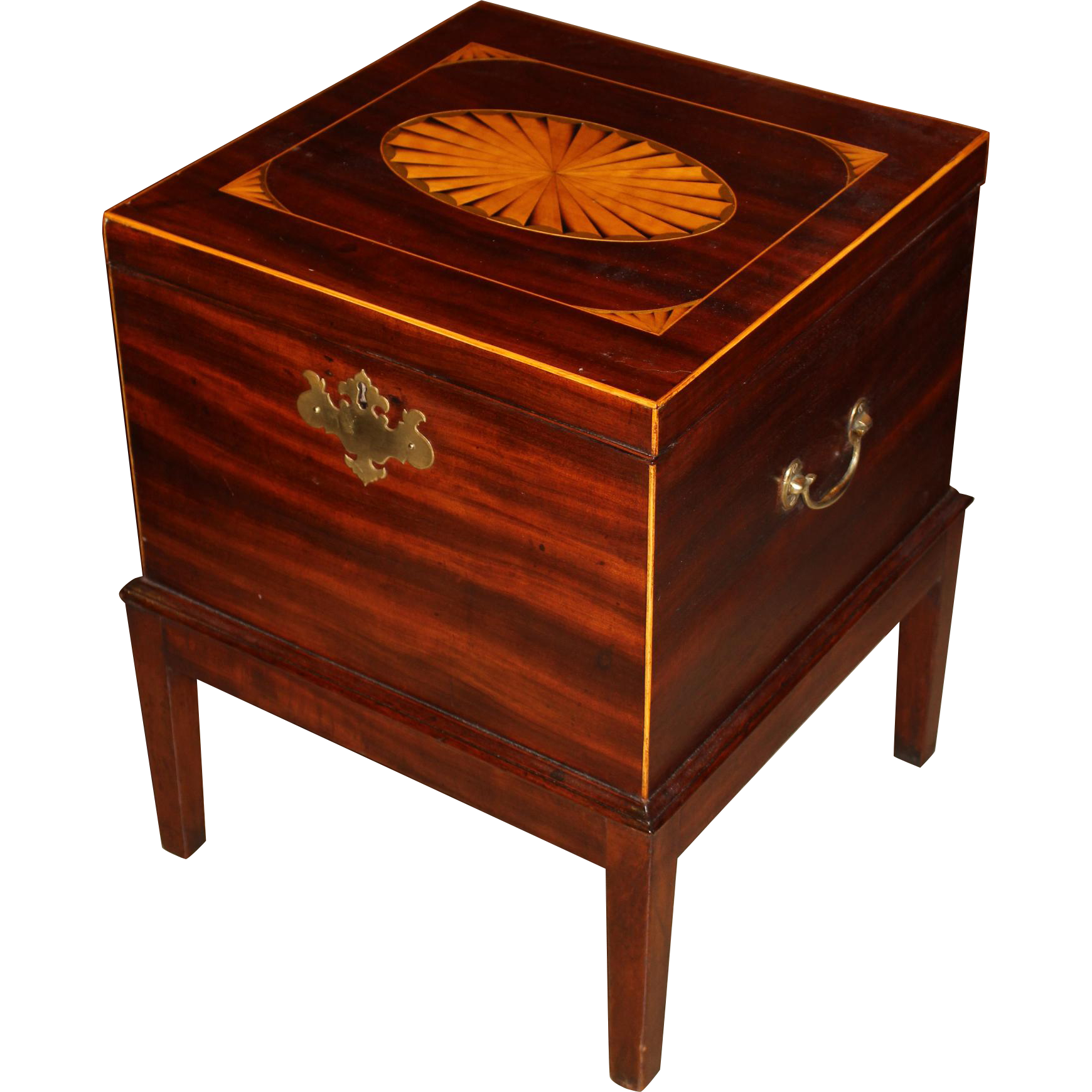 Georgian Mahogany Cellarette on Stand with Radiating Fan Inlay