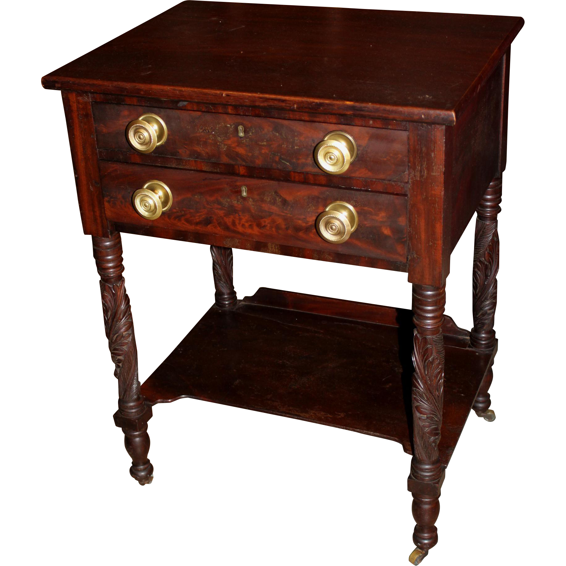 Early 19th c New York Two Drawer Mahogany Work Table with Lower Shelf