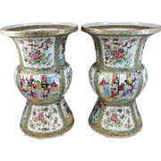 Pair of 19th Century Chinese Export Rose Medallion Ku Form Vases