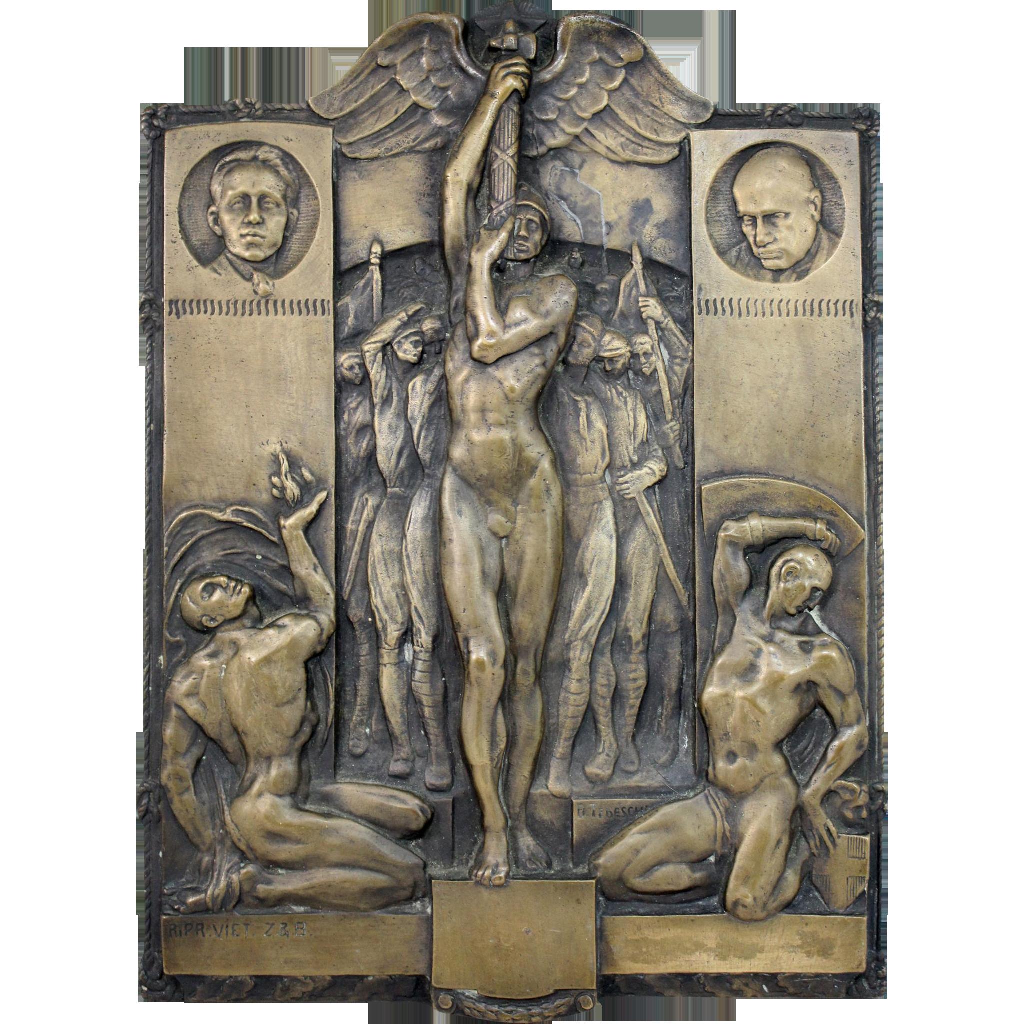Giovanni Battista Tedeschi Bronze Plaque of Birth of Fascism & March On Rome 1922