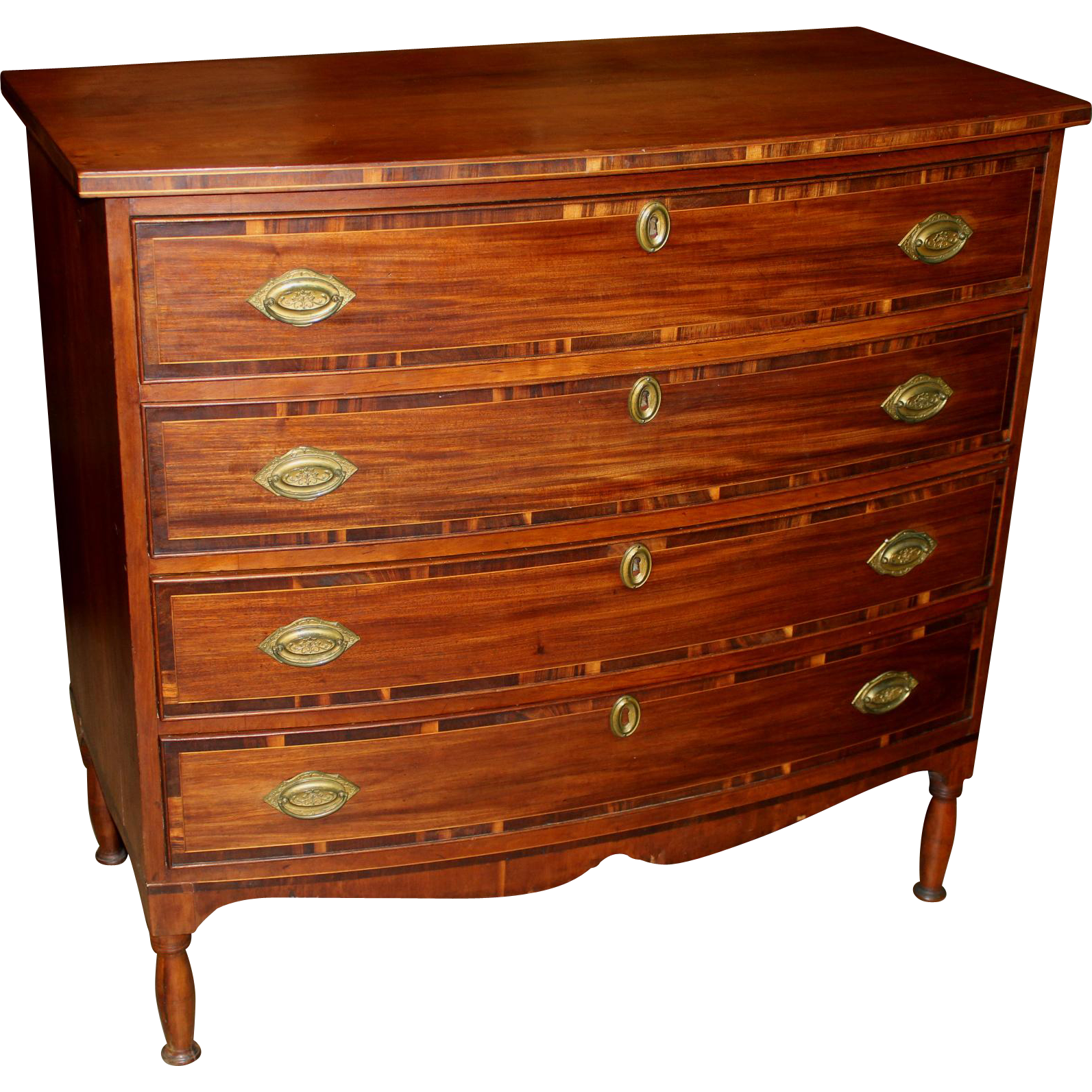 American Sheraton Bow Front Inlaid Mahogany Four Drawer Chest circa 1820