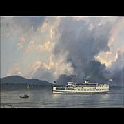 William R. Davis Oil Painting Landscape - Thunderstorm, Lake Winnipesaukee NH