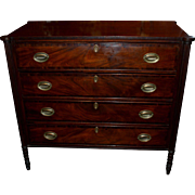 American Sheraton Mahogany Four Drawer Chest with Ovolu Corners circa 1820