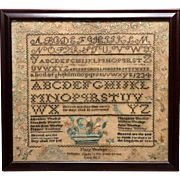 1827 York County PA Needlework Sampler Hand Wrought by Mary Tinsley