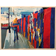 "Nicola Simbari Ltd Edition Print of an Abstract City Scene ""Palisades,""  12/300"