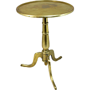 19th c English Diminutive Brass Candle Stand or Side Table