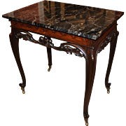 19th Century English Carved Rosewood Mixing Table with Marble Top