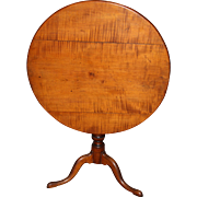 18th c Tiger Maple Tilt Top Tea Table
